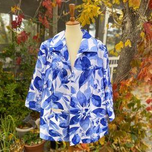 Tanjay Blue Floral Open Front Spring Jacket Blazer